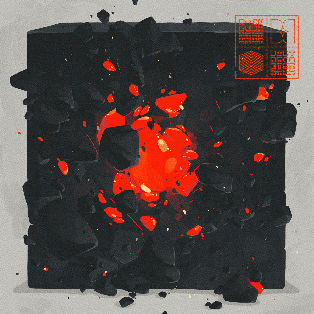 Album cover is a dark block blowing open with flying chunks of the block, revealing a lit up, reddish, molten core